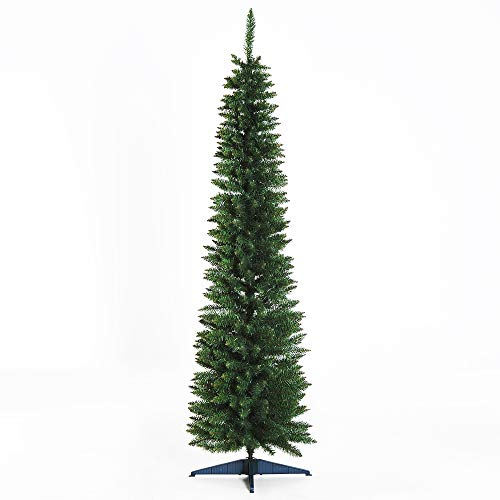 HOMCOM Weihnachtsbaum Tannenbaum mit Kunststoffständer 390 Spitzen Grün Ø 55 x H180 cm