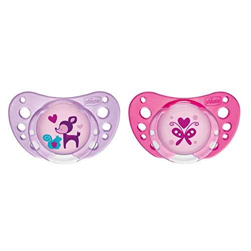 Chicco PhysioForma Air, Chupete de Recién Nacido 6-16 Meses, Tetina de Látex, 2 Piezas, Ayuda a la Respiración Fisiológica y Favorece el Desarrollo Adecuado de la Boca del Bebé, Rosa