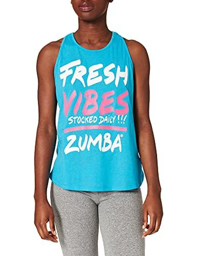 Zumba Activewear Backless Top Deportivo Dance Fitness Camisetas de Entrenamiento Tank Tops, Poppin' Blue, Large Womens