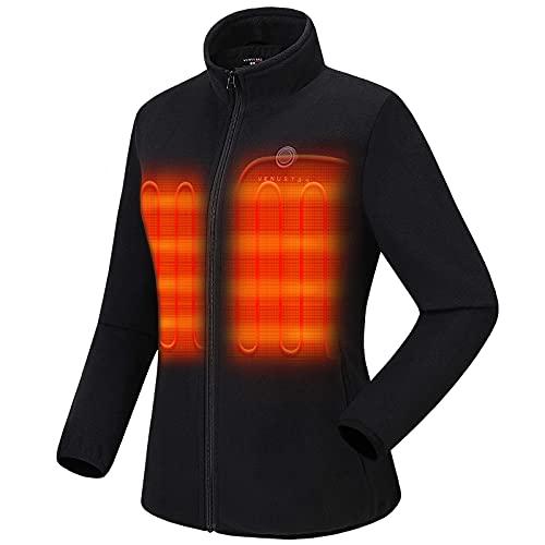Venustas Women s Fleece Heated Jacket with Battery Pack 7.4V, Fleece Heated Coat with YKK Zippers Black