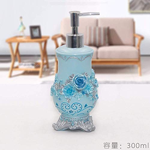 Tangrong Vloeibare zeep Container, Vintage Original Refillable Eco Resin keramische zeepdispenser, Nordic Rural handgemaakte Base Blue Rose Eco Resin Carving Shampoo Hand Sanitizer fles, 300ml