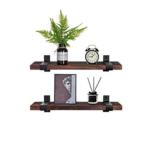 Lavievert Estantes flotantes montados en la pared, estantes de almacenamiento de madera rústica para dormitorio, sala de estar, baño, cocina, oficina, juego de 2