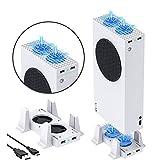 YOMADFUN USB Ventilador de Refrigeración para Consola Xbox Series S, Ventiladores Ajustables para Soporte de Enfriamiento con LED, 2 Concentrador USB para Xbox Series S, Blanco