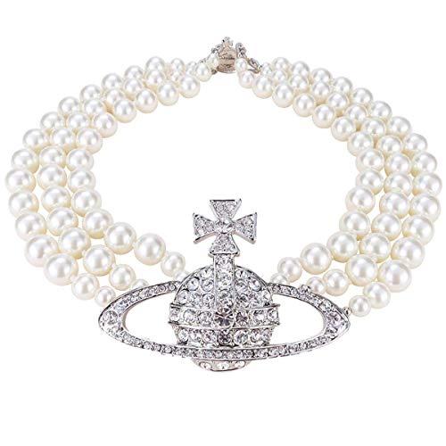 Collana di perle bianche a tre strati di cristallo di diamante Saturn Planet collana (argento di Saturno)