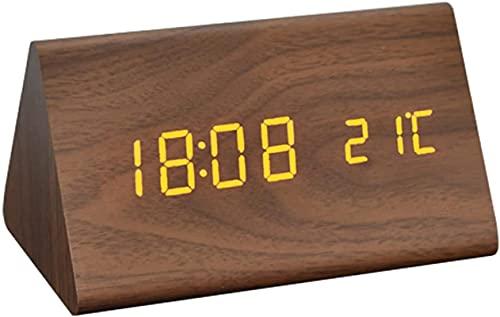 dh-10 Reloj despertador digital LED, silencioso, de madera, con alarma múltiple y 5 niveles de brillo, pantalla de dígitos blancos grandes, repetición, no hace clic