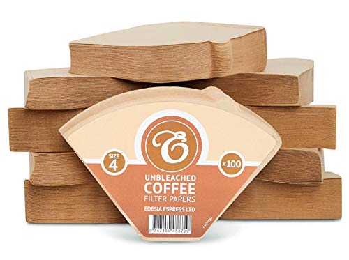 1000 Size 4 Coffee Filter Paper Cones, Unbleached by EDESIA ESPRESS