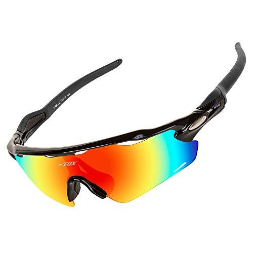 BATFOX Polarisierte Sonnenbrille herren Fahrradbrille Radbrille Sportbrille Herren Damen für Radsport Fahrrad Baseball Skifahren Sport Brille Junior mit Wechselobjektiven unzerbrechlichem Rahmen