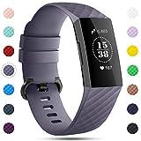 Onedream Correa Compatible para Fitbit Charge 3 Pulsera,Charge3 Correa Mujer Hombre Recambio Sport Strap Gris (sin Reloj),S