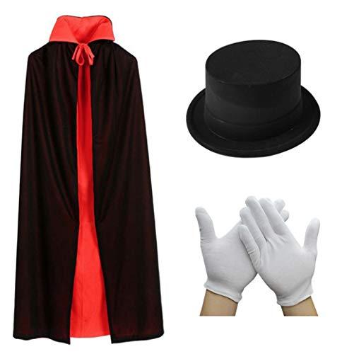 [ミスビヘイブ]MiSBEHAVe リバーシブル マジシャン 衣装 マント 150cm 山高帽 ハット 白 手袋 セット ド...