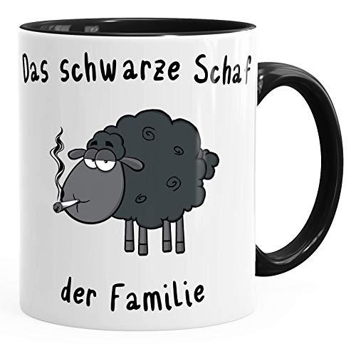 MoonWorks Kaffee-Tasse Das Schwarze Schaf der Familie Smoke schwarz Unisize