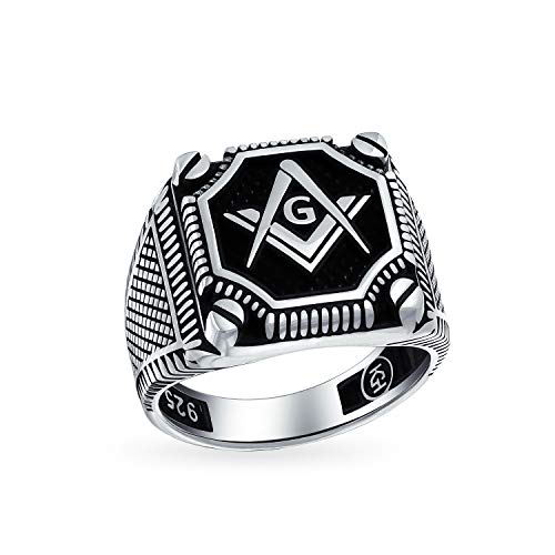 Mens Black Onyx Gemstone Inlay Compass Massoson Masonic Signet Ring For Men Solid Ossidato 925 Argento Made in Turkey