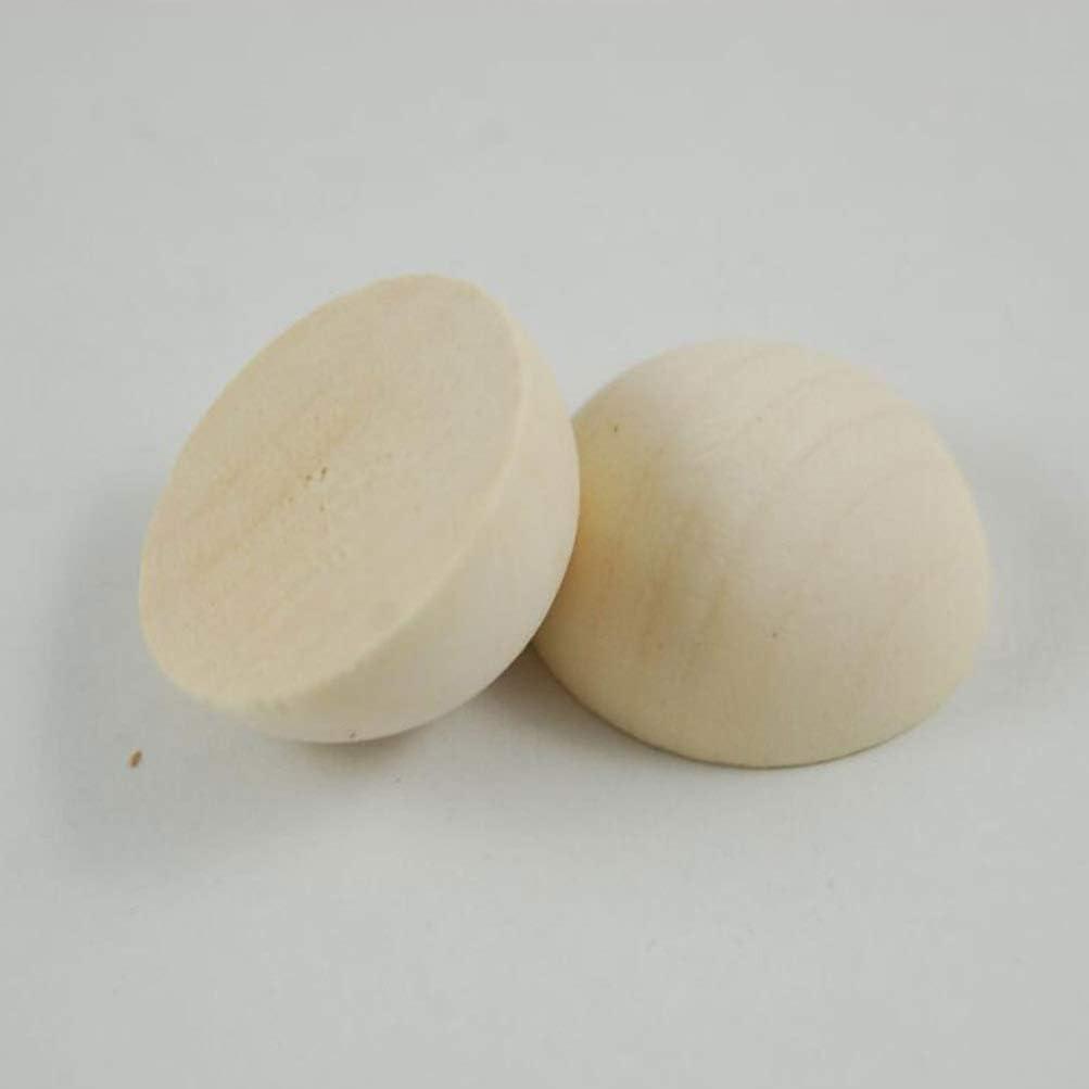 HEALLILY 100 Pezzi Mezze Perle di Legno Non Finite Sfere di Legno Rotonde Naturali Spaccate Mini Emisfero per Pittura Artigianale 15Mm