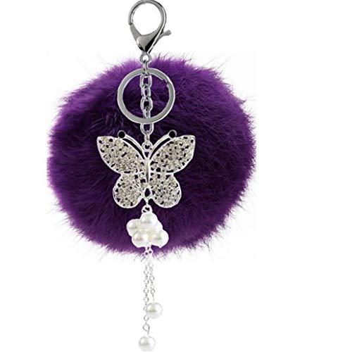 Schlüsselanhänger plüsch Ball Glitzer Schmetterling Strass Perel DIY Plüsch-Kugel Auto-Anhänger Pompom Weich Schlüsselring Handtaschenanhänger bommel Keychain Glücksbringer Geschenk (Violet)