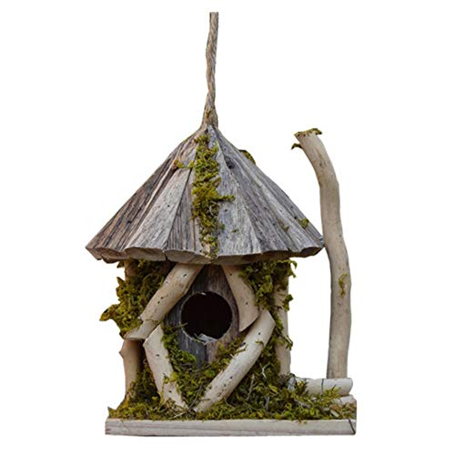 Bird's nest Retro Dome Creative Outdoor Hanging Decoration Bird House Country Style Cottages Bird House Outdoor Wood Birdhouse For Small Bird Wooden birdhouse (Color : Gray, Size : Free size)