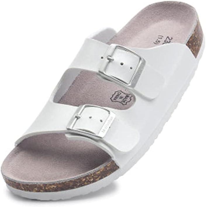 CHENGLONGTANG Slippers flip Flops Lazy Shoes Summer Women Beach Cork Slippers Casual Double Buckle Clogs Slides Non-Slip Outside Unisex Slipper Shoe (Color : White, Size : 7.5 UK)