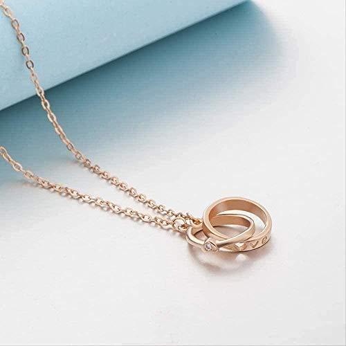FACAIBA Collar Personalidad Collar de Cien Conjuntos Romántico Collar de Anillo Doble en Forma de corazón Regalo