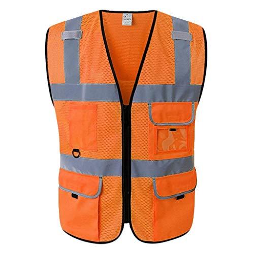 Chaleco de alta visibilidad Chaleco de seguridad, Viajes Trajes de Noche respirable cómodo el chaleco reflectante de seguridad 2 de alta visibilidad Chaleco Chaleco de seguridad (Color : Orange)