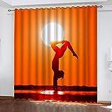 LUOWAN 3D Impresión Digital Cortinas de Opacas Fibra de Poliéster 80 x 184 CM 2 Paneles - Belleza yoga puesta de sol paisaje - Cortinas opacas para sala de estar, dormitorio, cocina, tratamientos de v
