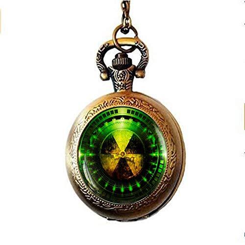 Reloj de bolsillo con símbolo de peligro de radiación, radiactivo, química, joyería de física, ciencia ficción, ciencia, caída