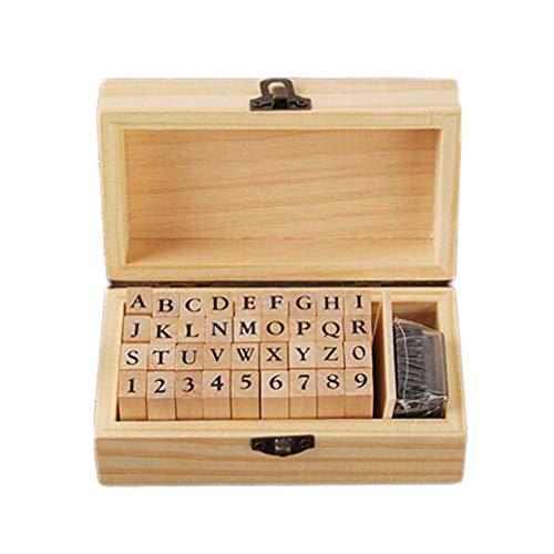 Artibetter 45 Piezas de Madera Alfabeto número de Letras Sellos Sello Conjunto para DIY Craft Card Making Planner Scrapbooking Suministros