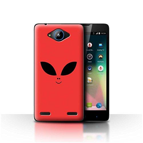 Stuff4 Hülle/Hülle für ZTE Blade L3 Plus/Rot Muster/Außerirdisches Gesicht Kollektion