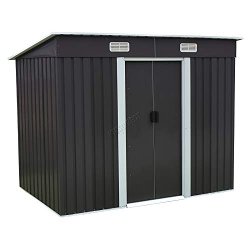 BIRCHTREE Garden Shed Metal Pent Roof 4FT X 6FT Outdoor Storage With Free Foundation Anthracite and White
