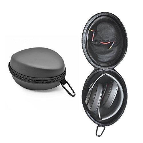iProtect Schutztasche Hülle Box mit Karabiner geeignet für Beats by Dr. Dre Studio Solo Mixr Pro Kopfhörer u.A. in schwarz