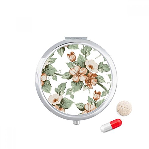 DIYthinker Elegant Rotan Bloemen Decoratieve Travel Pocket Pill case Medicine Drug Opbergdoos Dispenser Spiegel Gift