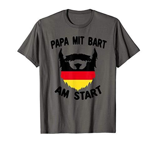 Herren Papa mit Bart am Start Vater Deutschland Fahne Patriot T-Shirt