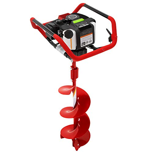 Earthquake Dually 1-Man or 2-Man Earth Auger Combo with 10-Inch Auger Bit and Fishtail Point, 52cc 2-Cycle Viper Engine, Jobsite Handlebars, and Flex Coil Shock Absorber