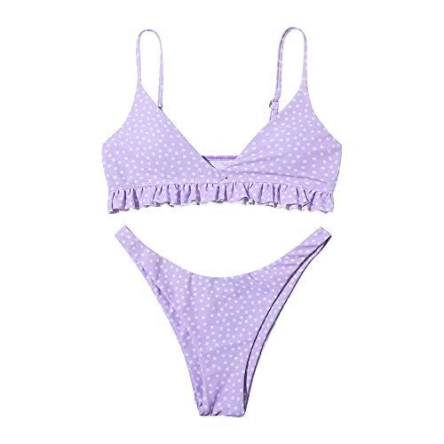 FUPOZ - Bikini para mujer, diseño de lunares, dos piezas 029 lila M