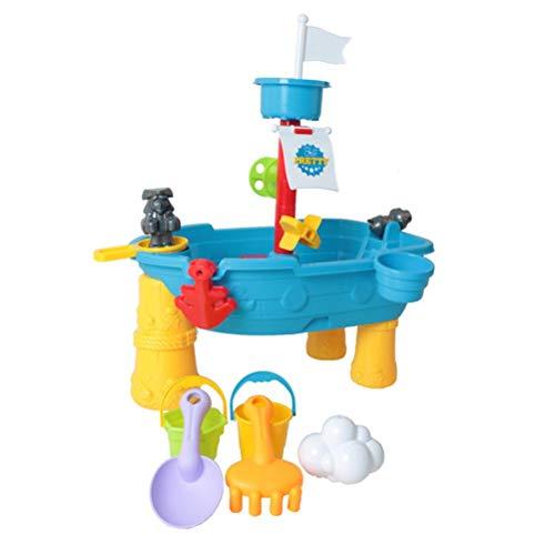 Actividades Piratas al Aire Libre Mesa de Juego Mesa de Actividades acuáticas y de Arena con diseño de Barco Salpicaduras de Juguete Divertido de Verano