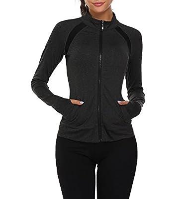 Coorun Women's Lightweight Sports Active Full-Zip Hoodie Jacket With Thumb Holes
