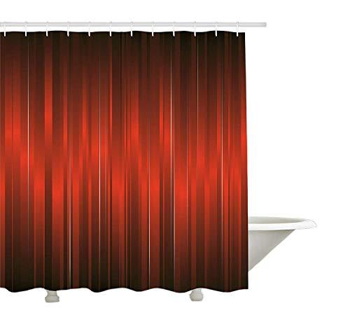 Yeuss Cortina de Ducha marrón, diseño Vibrante de Bandas de Color Verticales, Rayas, viñeta de patrón dramático de época, Juego de decoración de Tela con Ganchos, Negro Granate