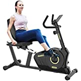 pooboo Recumbent Exercise Bike for Adults Seniors, Indoor Magnetic Cycling Stationary Bike for Home Workout with Adjustable Seat and Resistance, Pulse Monitor/Phone Holder (Black&Gold)
