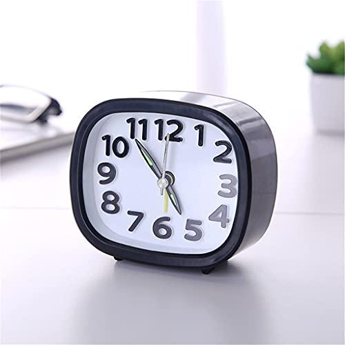 KLHDGFD Reloj despertador cuadrado redondo pequeño y silencioso, silencioso, de barrido, de mesa, funciona con pilas, compacto y portátil (color: C, tamaño: talla única)