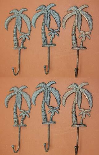 Florida Bath Decor Tropical Palm Tree Bath Towel Hook Cast Iron Bronze-Look, 9 1/2', Set of 6