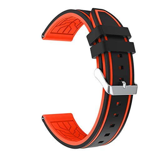 Fmway 22mm Silikon Uhrenband Ersatzarmband mit Edelstahl Metall Schließe für Samsung Galaxy Watch 46mm / Gear S3 Frontier/Gear S3 Classic/Moto 360 2. Generation 46mm / Amazfit (Schwarz + Orange)