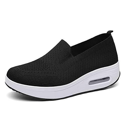 H/A Zapatillas de deporte para mujer, informales, modernas, cómodas, con cojín de aire, para senderismo, yoga, caminar, correr, estudiantes., color Negro, talla 35 EU