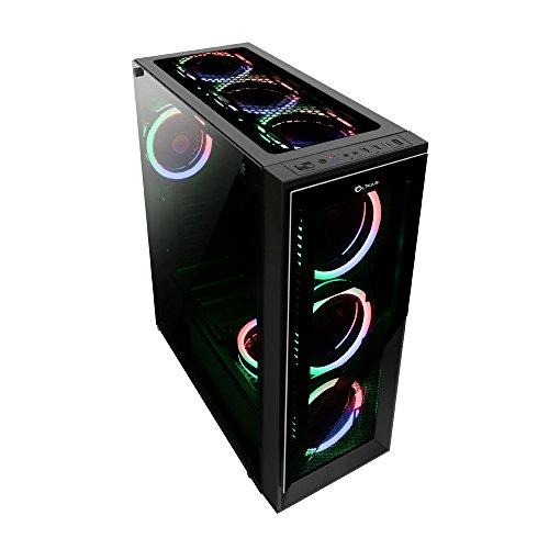 Talius Caja ATX Gaming Valkyria Ver. 2021 Doble aro Spectrum Frontal y Lateral de Cristal Templado - 2X USB 3.0 - 2X USB 2.0 - Sin Fuente - Negra