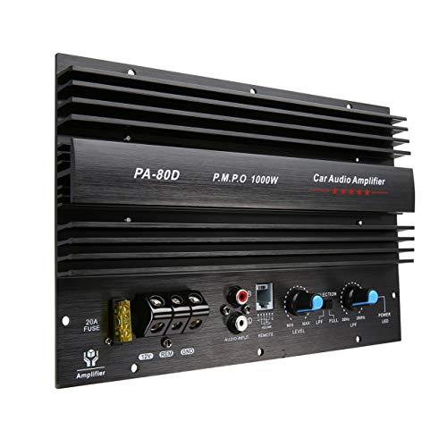 12V 1000W bordo dell'amplificatore di Mono Car Audio Power Amplifier bassi potenti Subwoofer Amp per modifica dell'automobile PA-80D (nero)