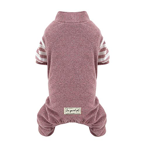 Pet Clothes for Small Dog Pajamas, Knitted Soft Puppy Pajamas Dog Cotton Shirt PJS Jumpsuit Large, Pink Review