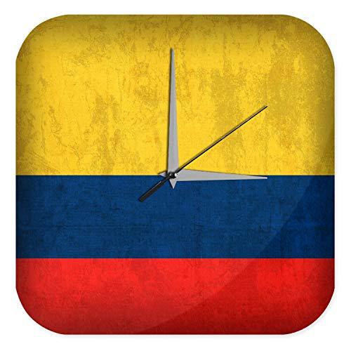 LEotiE SINCE 2004 Wanduhr mit geräuschlosem Uhrwerk Dekouhr Küchenuhr Baduhr Abenteurer Wand Deko Kolumbien Flagge Dekouhr Vintage