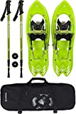 Winterial Yukon Snowshoes 25 Inch Lightweight All Terrain Green Snow Shoes with Carry