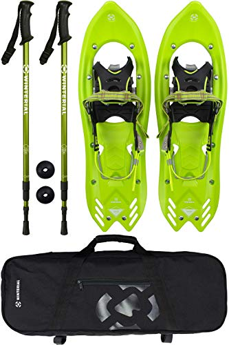 Winterial Yukon Snowshoes 25 Inch Lightweight All Terrain Green Snow Shoes with Carry Bag and Adjustable Poles