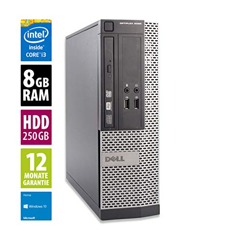 Dell OptiPlex 3020 SFF | Büro Computer/Internet PC | Intel Core i3-4160 @ 3,6 GHz | 8GB DDR3 RAM | 250GB HDD | Windows 10 Pro (Generalüberholt)