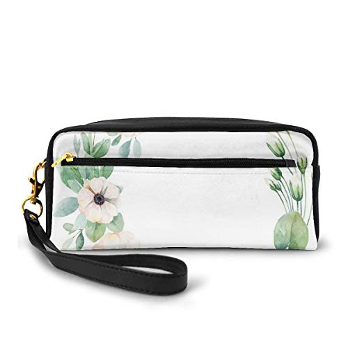 Pencil Case Pen Bag Pouch Stationary,Round Composition With Flourishing Fresh Bedding Plants And Stems,Small Makeup Bag Coin Purse