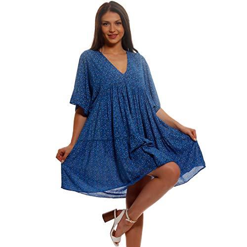 YC Fashion & Style Damen Tunika Kleid Geblümt Longshirt Boho Look Freizeit Minikleid oder Strandkleid Jumper HP248 Made in Italy (One Size) (One Size, Royalblau)
