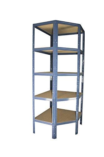 Eckregal Stecksystem in blau 180 x 70 x 45 cm mit 5 Böden für Schwerlastregale mit 45 cm Tiefe: Ideale Ergänzung durch Ausnutzung der Ecken für Metallregal, Kellerregal, Lagerregal, Garagenregal