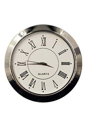 OKA CLOCK Einbau-Uhr Einsteckuhrwerk Einbauuhr Einsteckwerk «RÖMISCH» Ø 55 mm Silber #31 (Silber)